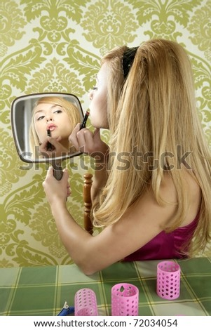 Retro mirror makeup woman lipstick vintage wallpaper