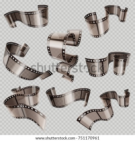 Retro 35mm foto and movie film roll set. Video tape part, illustration of cinematography multimedia tape photography