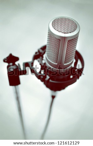 Retro music microphone in vintage style
