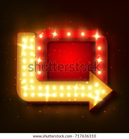Retro neon sign with neon arrow. 3D night neon sign with glowing lights.  illustration of frame, neon arrow icons. Realistic frame for your designs, banners, flayers or advertising