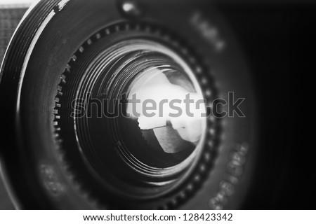 Retro Objective In Black And White Style. Tilt-Shift Lens Use.