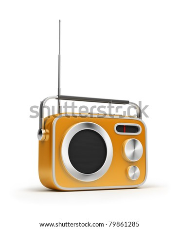Retro of radio of yellow colour. 3d image. Isolated white background.