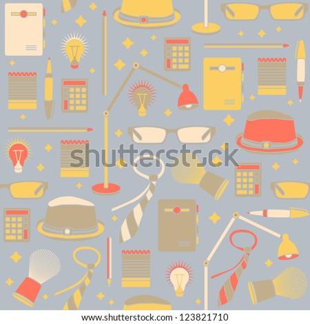 Retro office pattern, style businessman accessories