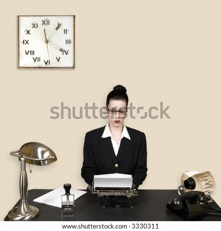 Retro office worker in vintage corporate environment