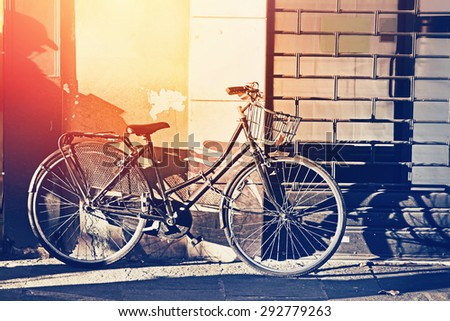 retro old bicycle at the city...
