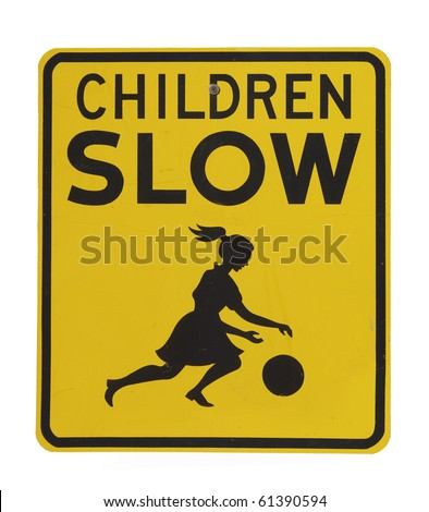 Retro old children slow traffic sign