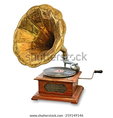 retro old gramophone isolated on white #259149146