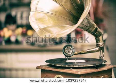 Retro old gramophone radio. Vintage style toned photo #1039239847