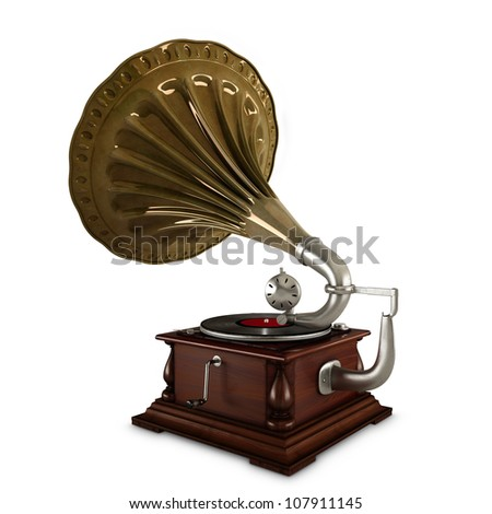 retro old gramophone with horn isolated on white with Clipping Path #107911145