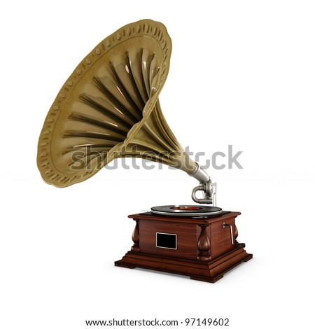 retro old gramophone with horn isolated on white with Clipping Path #97149602
