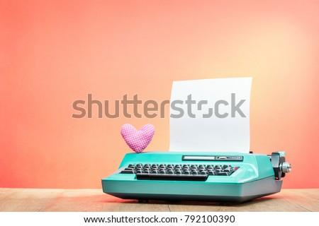 retro old mint green typewriter ...