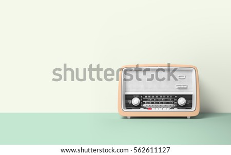 Retro old radio on background 3D illustration