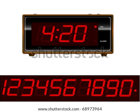 Retro old school alarm clock with numbers