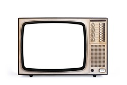 Retro old television cut out white screen isolated on white background, clipping path