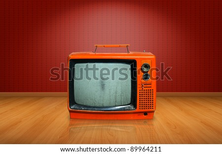 Retro, old television on wooden floor #89964211