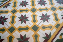Retro old vintage floor tiles. Portuguese House Marocain style interior hydraulic ceramic mosaic tiles flooring