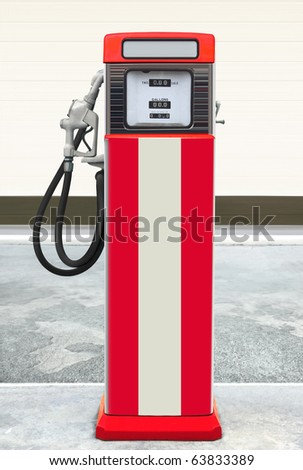 retro old vintage gas station featuring ethyl gas - stock photo