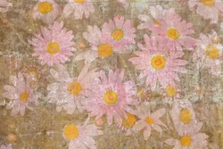 Retro painted texture with a bulk of pink daisies