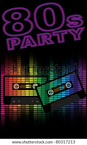 Retro Party Background - Retro Audio Cassette Tapes and Equalizer on Black Background