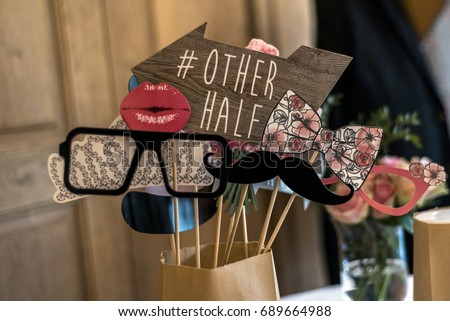 Retro Party set Glasses, hats, lips, mustaches, masks design photo booth party wedding funny pictures #689664988