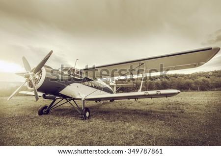 retro passenger plane stands on ...