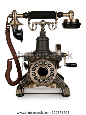 Retro Phone - Vintage Telephone isolated on White Background