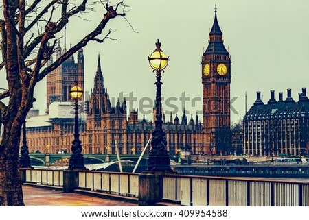 RETRO PHOTO FILTER EFFECT: Street Lamp on South Bank of River Thames with Big Ben, Elisabeth Tower and Palace of Westminster in Background, London, England, UK