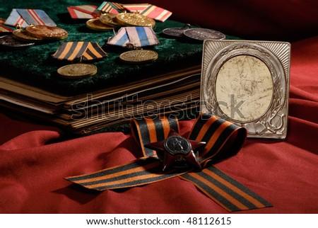 retro photo frame with war insignia