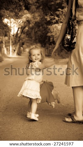 retro photo little girl with...