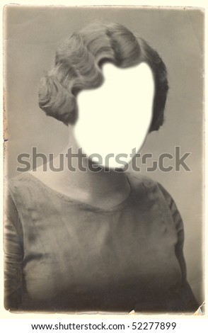 Retro photo of woman.Face cloned out. You can use the frame or add your own face.