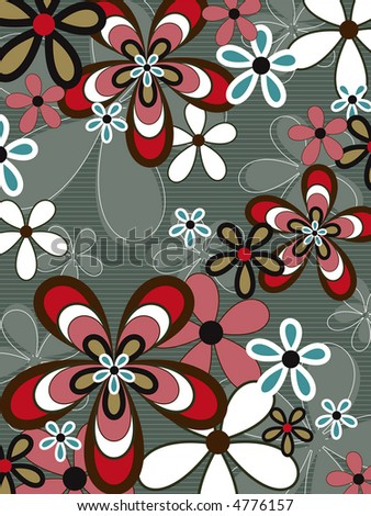 stock photo : retro pink and brown flower power (raster) - illustrated ...