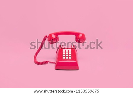 Retro pink telephone on pink background, Vintage style colors. #1150559675
