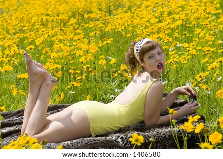 Retro pinup yellow bathing suit Model Amy Feline