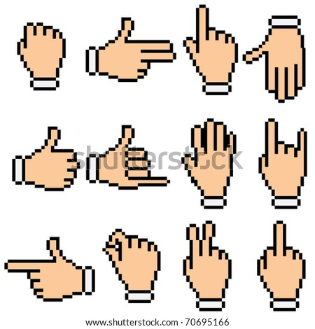 Retro Pixel Pictogram of hands and gestures - stock photo