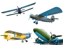 Retro planes isolated on white background, collection