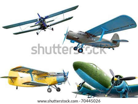 Retro planes isolated on white background, collection - stock photo