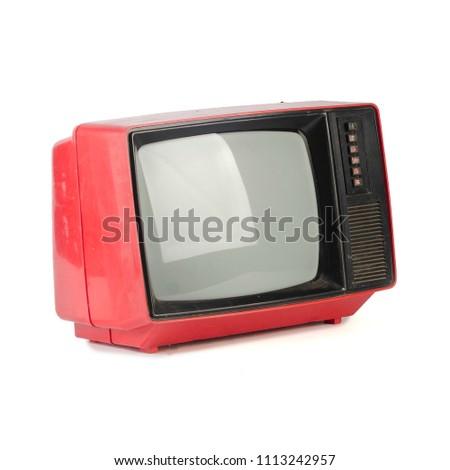 retro plastic tv isolated on white background