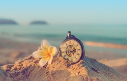 retro pocket watch and plumeria flower on sea beach and ocean background. vintage clock on sand beach. summer vacation time, travel concept. close up. copy space
