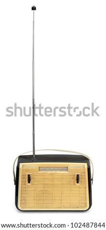 Retro portable radio with long antenna isolated on white