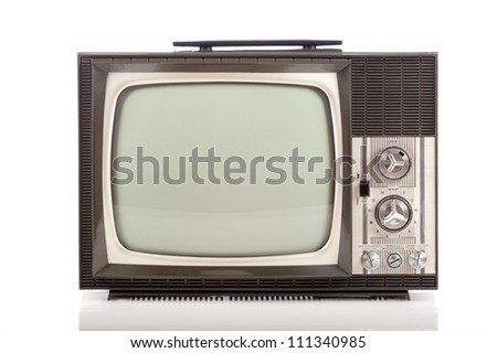 retro portable television on white background