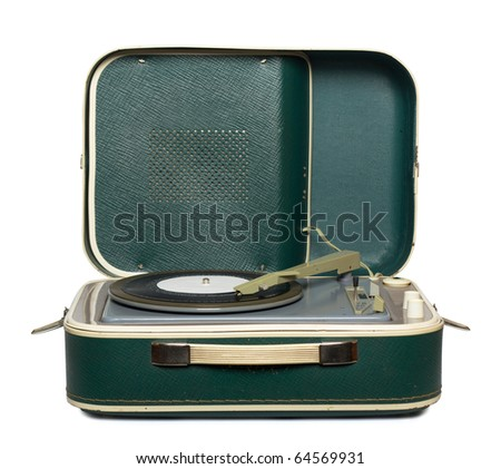 retro portable turntable with vinyl record isolated on white