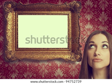 Retro portrait of a girl next to the frame
