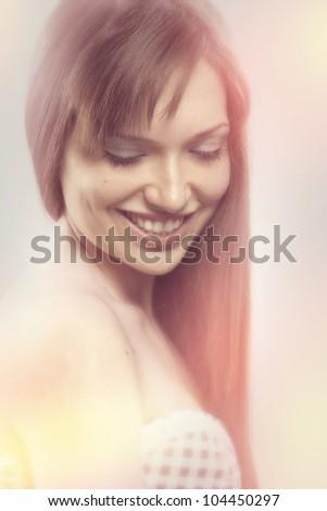 Retro portrait of beautiful bride - stock photo