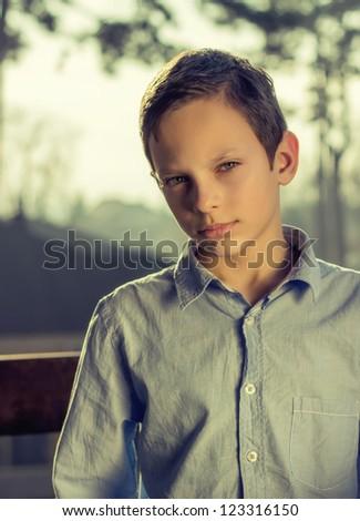 retro portrait of handsome young boy