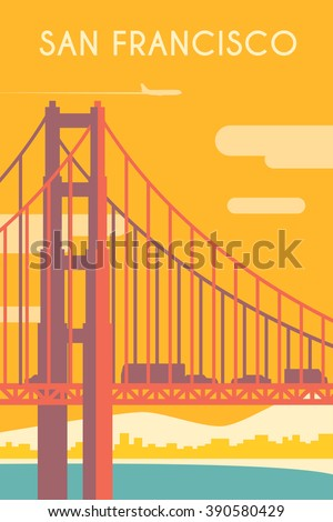 Retro poster in art Deco style. San Francisco. California. The Golden Gate Bridge. Flat design.