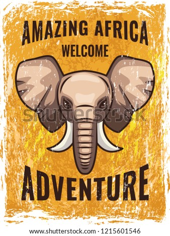 Retro poster template with illustration of african elephant. elephant mascot, amazing africa adventure poster