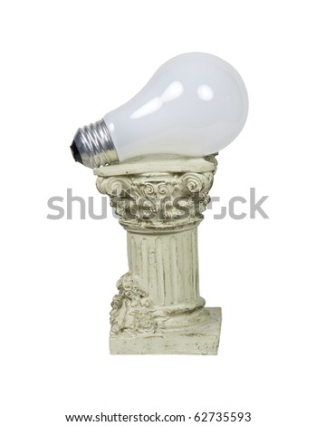 Retro power shown by a round light bulb on a stone formal pedestal for raising up an item of importance - path included