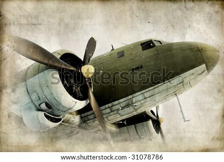 retro propeller airplain