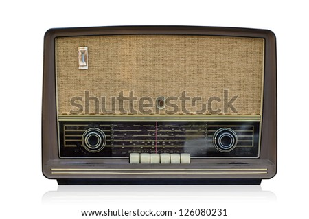 Retro radio against on isolated white background