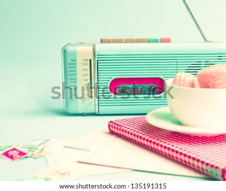 Stock Photo Retro Radio and Still Life